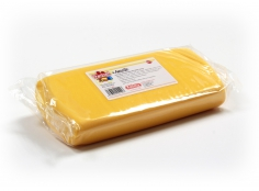 Fondant YELLOW 1 Kg -   Sin gluten / Gluten-free / Sans Gluten / Senza Glutine / Sem glúten     USES:  Used for coating cakes and moulding shapes, including flowers, by adding a small amount of CMC to obtain a firmer texture.    CONSERVATION:  Store in a cool, dry place at room temperature. Keep away from sunlight. KEEP THE BAG CLOSED. Keeps very well in cold temperatures and in summer heat. Does not dry out when stored in plastic film and placed inside a covered plastic container.  Expiry date : 15 months from the date of packaging. Use before the date printed on the container.    ADVANTAGES :  Smooth, even texture . Pliable and stretchy.  Does not crack  and can be easily shaped.  Is not sticky  and can be kneaded as often as required.  Does not stick  to cutters or to plastic surfaces. A  wide range of colours . The colours are very bright and do not fade after the container is opened or after multiple uses. Has a mild  vanilla scent . Excellent taste; all of the colours taste of vanilla rather than sugar.  Soft without being gooey  or grainy.    INSTRUCTIONS FOR USE:      Should be handled preferably on a plastic surface. The use of icing sugar is not required as Kelmy fondant does not stick to this surface.   Thoroughly knead the Kelmy fondant by hand until it is soft and smooth.           NUTRITION INFORMATION    Per 100 g       ENERGY   1630/384 (kj/kcal)       FAT   3,2 g       OF WHICH SATURATES   1,6 g       CARBOHYDRATE   89 g       OF WHICH SUGARS   77 g       PROTEIN   0,5 g       SALT   0,1 g          Amount of Sugar Paste required to coat a cake  Estimate based on 10 cm high by 5 cm wide portions.             How much fondant do I need?         Size of Cake     Round Cakes    Portions    Square Cakes    Portions       15 cm   500 g   12   750 g   18       18 cm   750 g   17   1 kg   26       20 cm   1 kg   20   1,250 kg   32       23 cm   1,250 kg   30   1,500 kg   38       25 cm   1,500 kg   34   1,750 kg   46       28 cm   1,750 kg   40   2 kg   60 